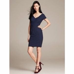 Banana Republic Navy Blue V-Neckline Dress
